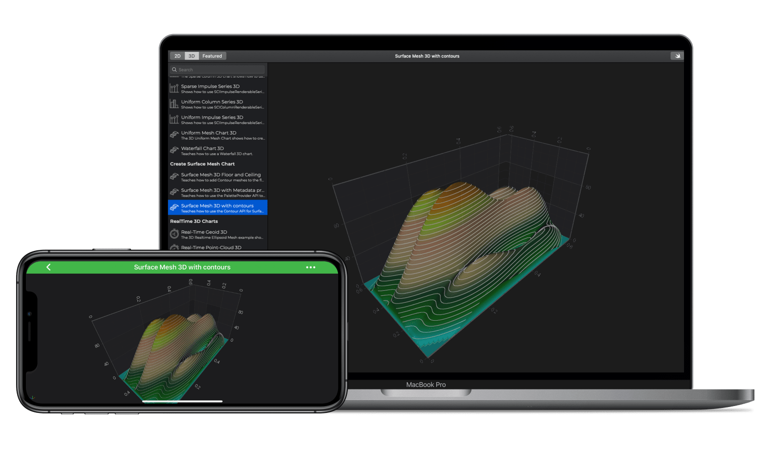iOS & macOS  Surface Mesh  With Contours 3D Chart